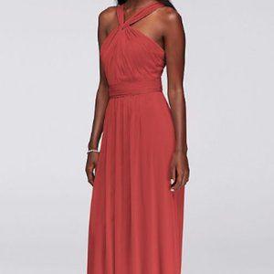 David's Bridal Y-Neck Coral Chiffon Dress (Size 0)